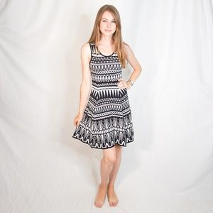 MILLY Black White Abstract Pattern Dress S 1059